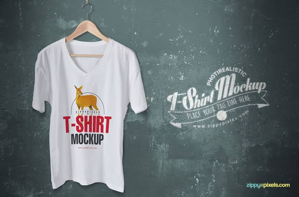 Trendy Free V-Neck T-Shirt Mockup