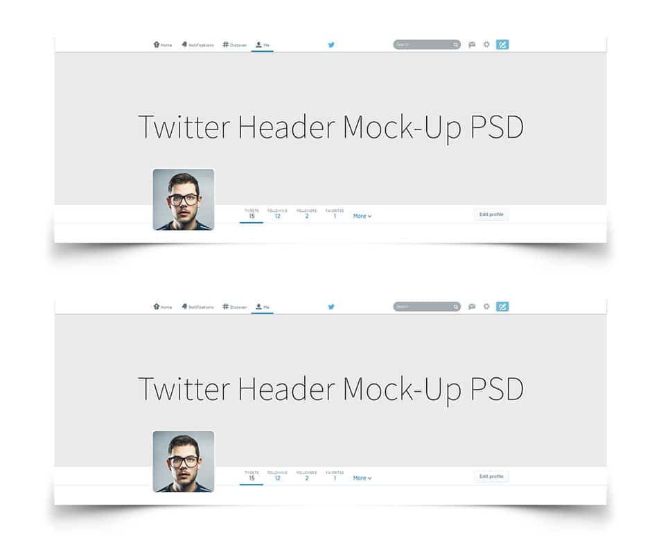 Twitter Header photo Preview Mock-up PSD