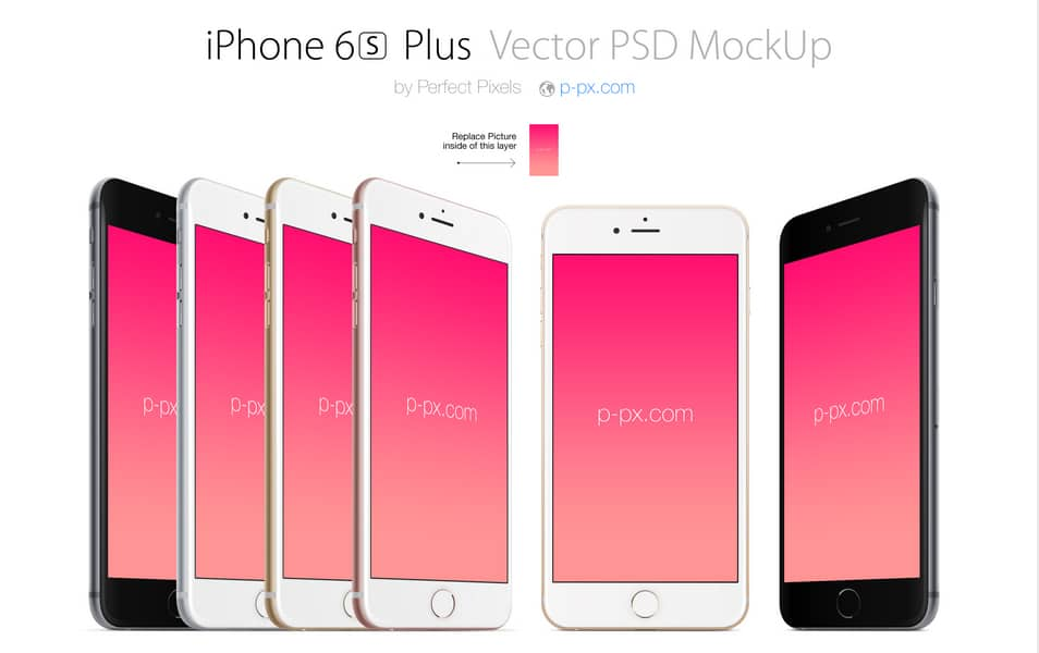 iPhone 6S Plus front and angled PSD