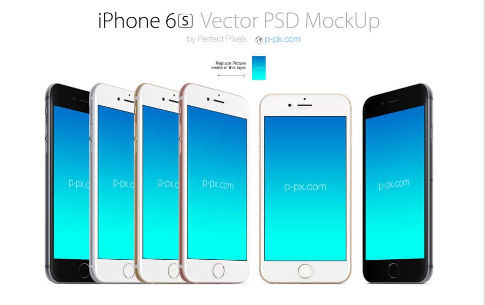 iPhone 6S front and angled views PSD