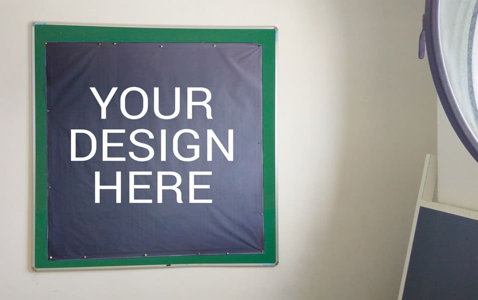 Banner On Black Board Mockup
