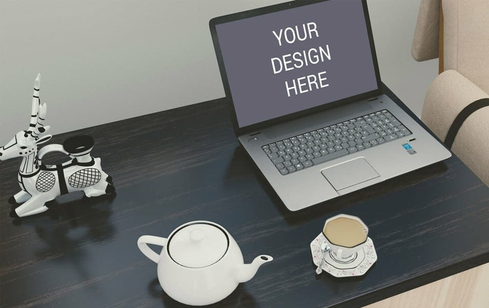 Laptop on Desk Mockup