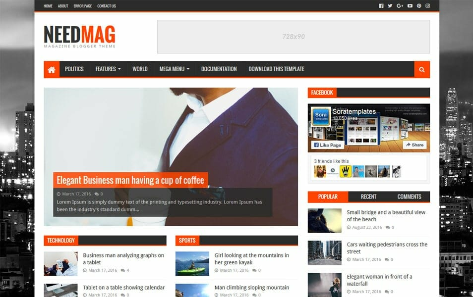 300 best free responsive blogger templates 2018 css author needmag responsive blogger template accmission Images