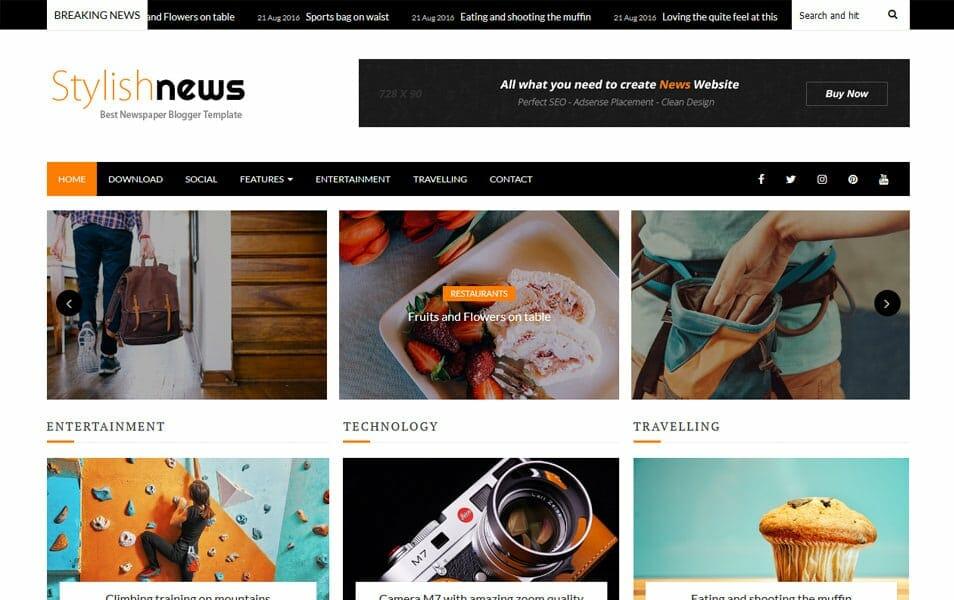 Stylish News Responsive Blogger Template