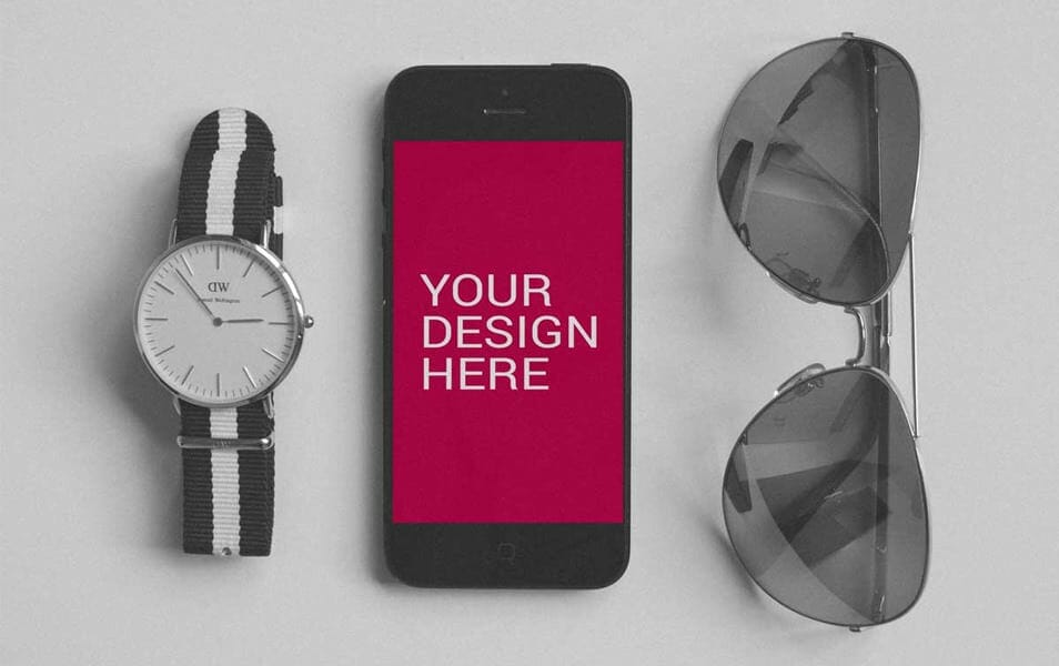 iPhone 5 With DW Watch Mockup