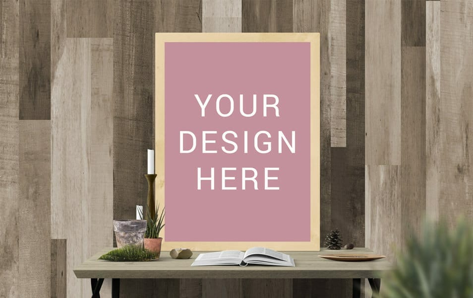 Frame Poster On Desk Mockup