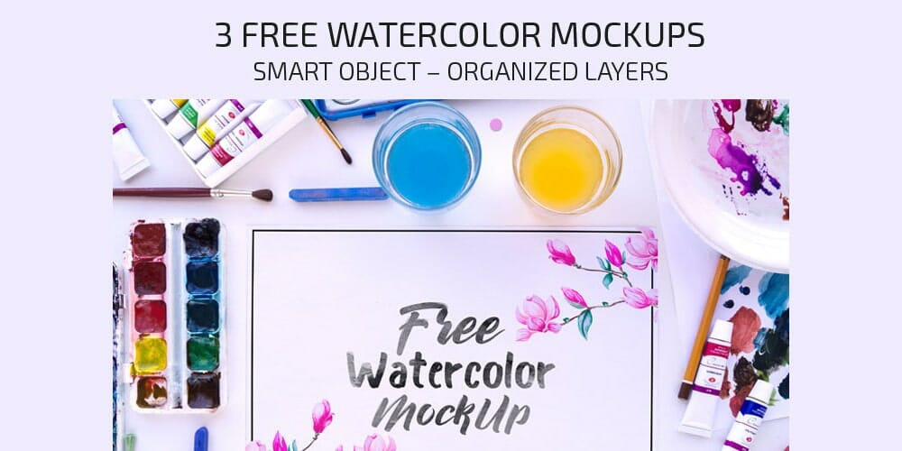 Free Watercolor Mockups PSD