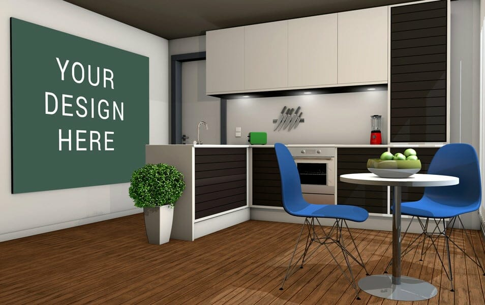 Kitchen wall Poster Mockup