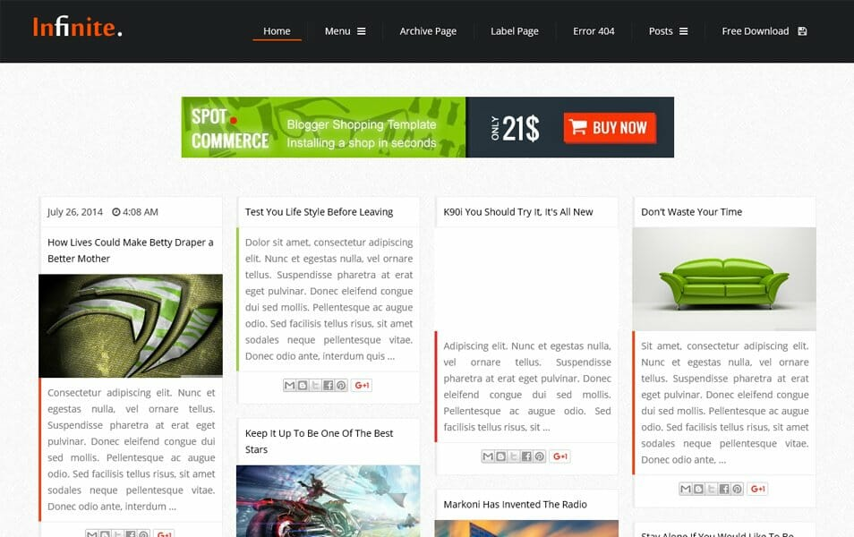 Infinite Responsive Blogger Template