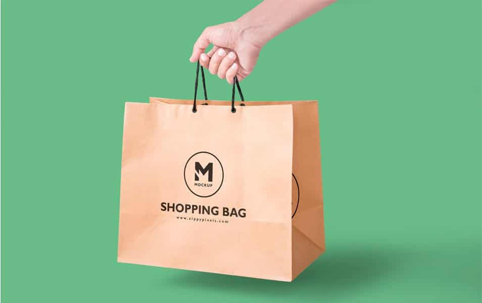 Free Paper Bag Mockup In Handheld View