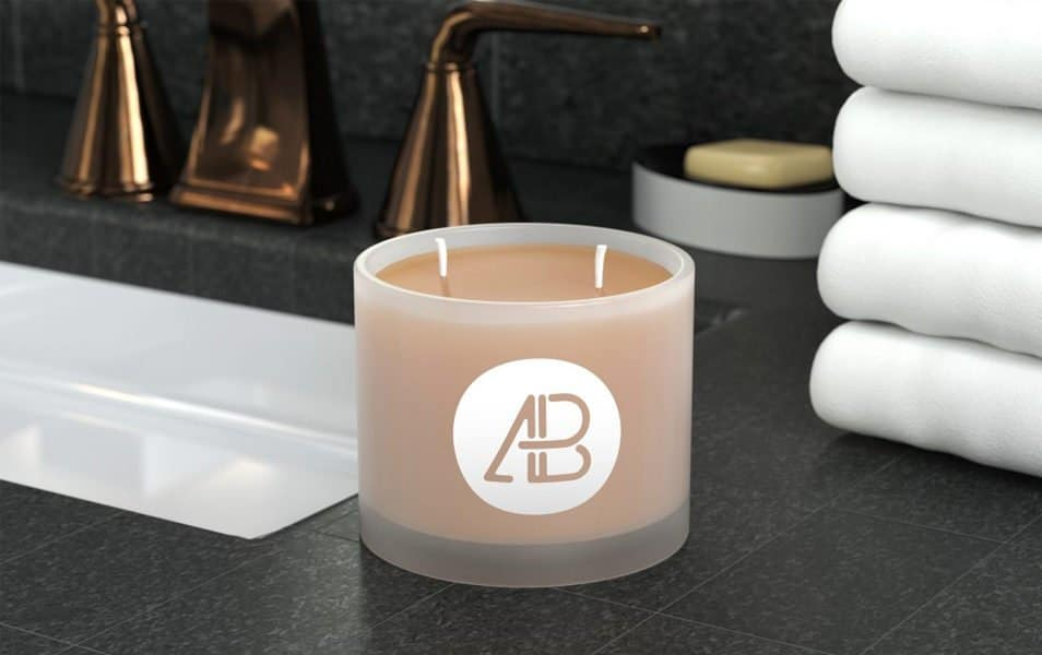 Frosted Glass Candle Mockup