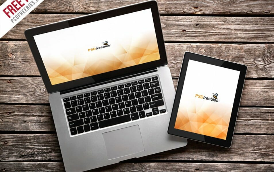 MacBook Pro and iPad Mockup Template Free PSD
