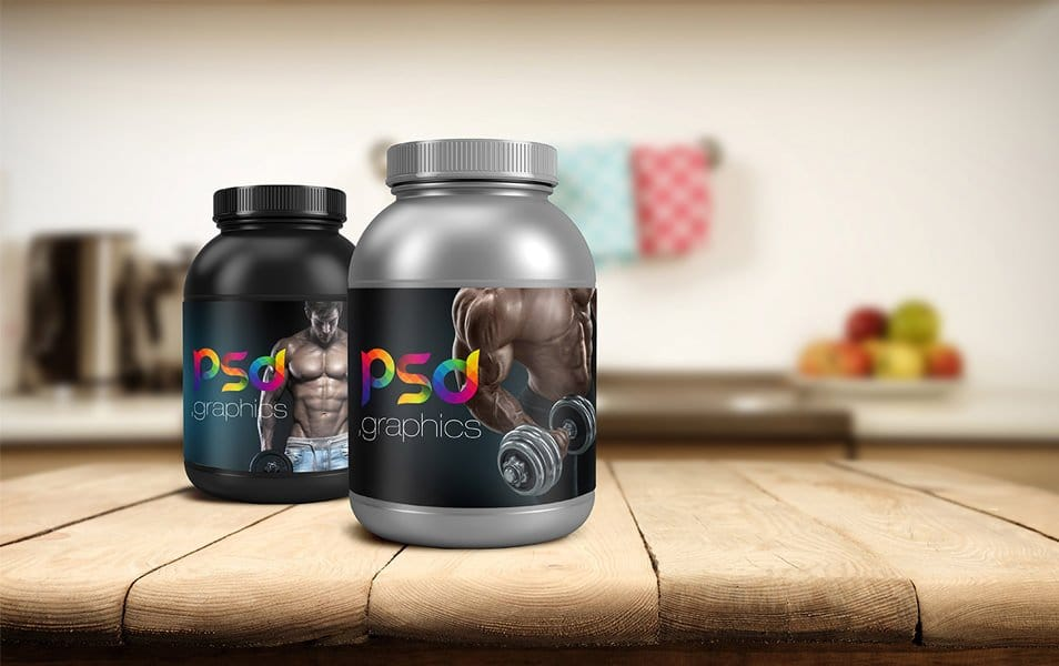 Protein Jar Packaging Mockup Free PSD Graphics