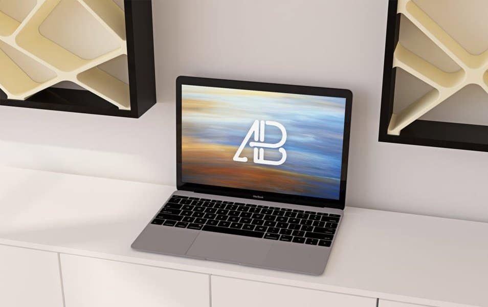 Realistic 12-Inch Macbook Mockup