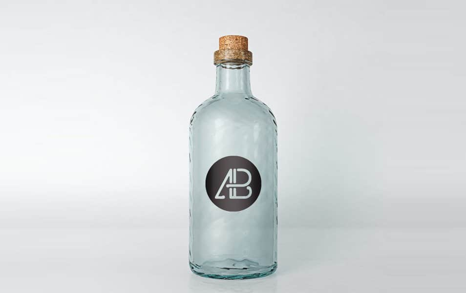 Realistic Glass Bottle Mockup