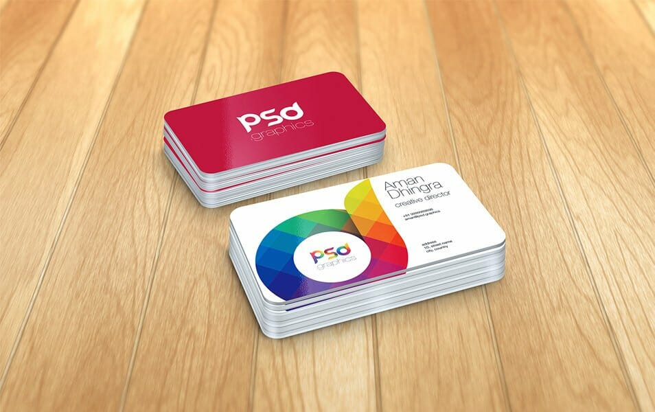 Rounded Corner Business Card Mockup Free PSD Graphics