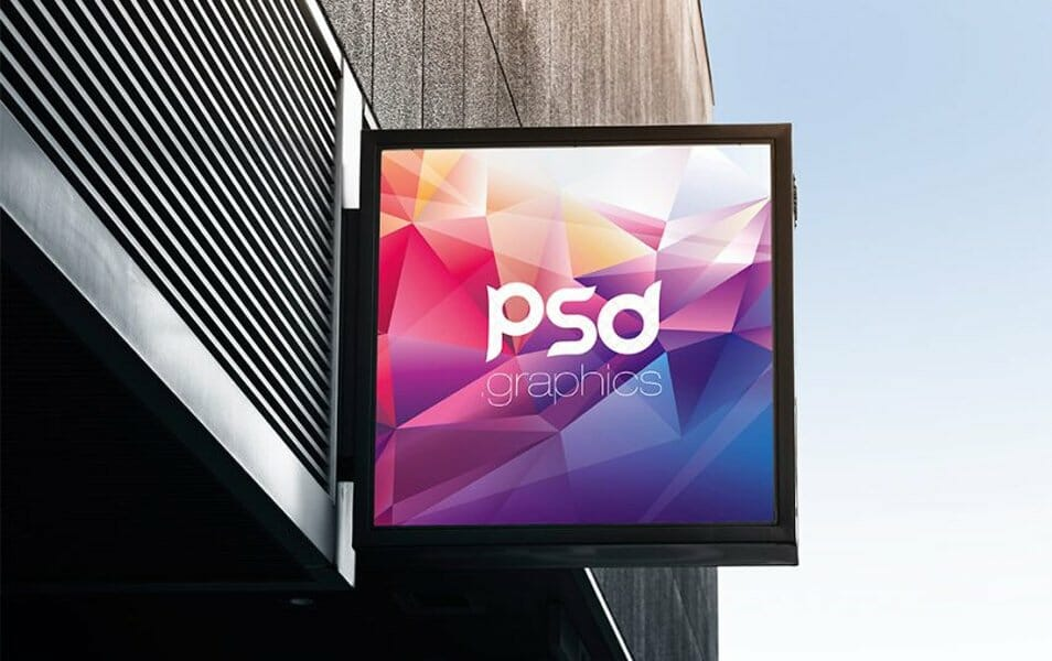 Square Signboard Mockup Free PSD