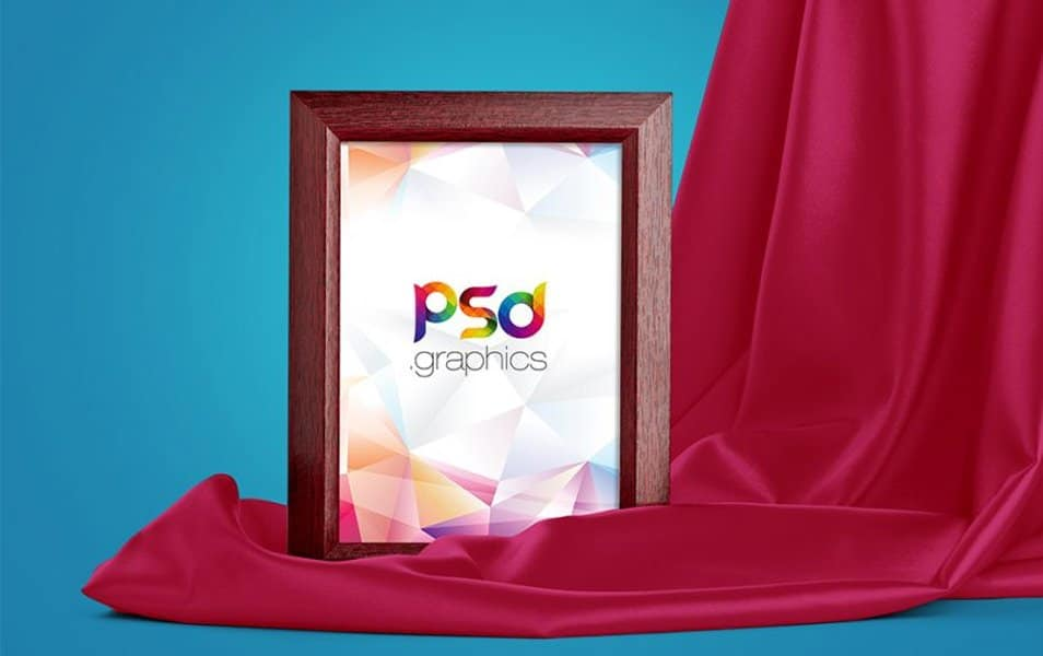 Wooden Photo Frame Mockup Free PSD