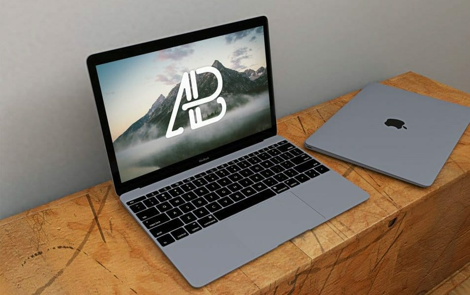 Free Realistic Space Grey Macbook Mockup