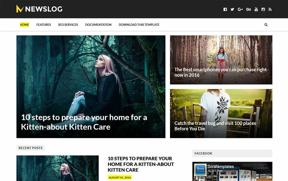 NewsLog Responsive Blogger Template