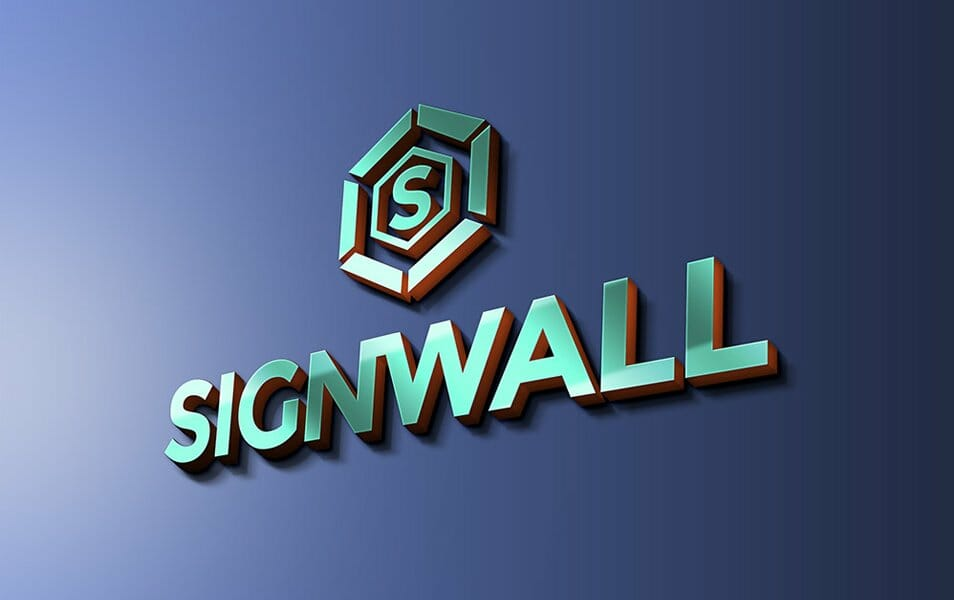 Sign Wall Logo Mockup PSD