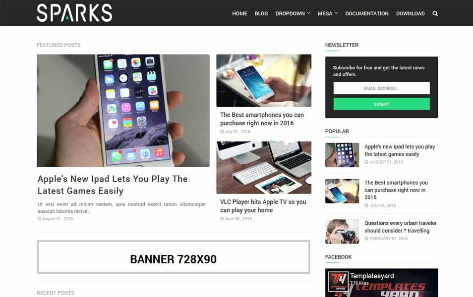 Sparks Responsive Blogger Template