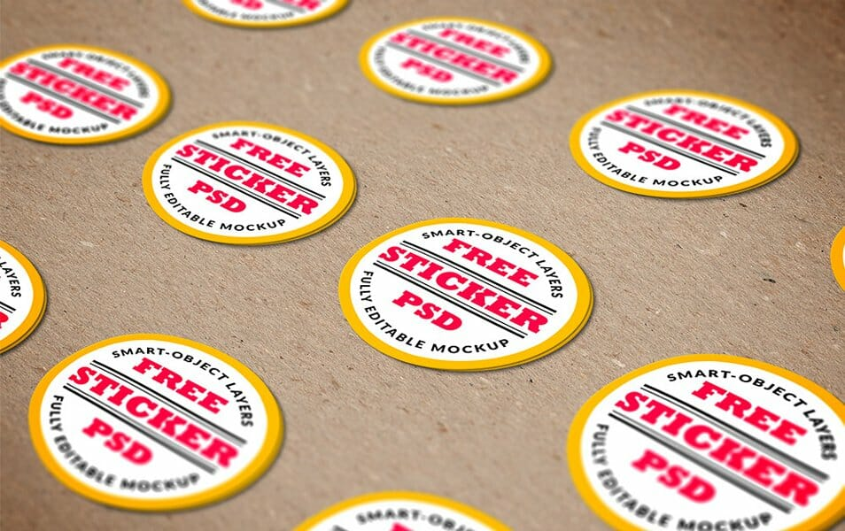 Stickers Mockup PSD