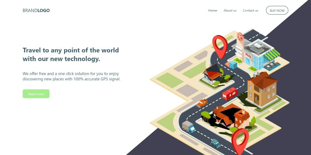 GPS Landing Page Template For Adobe XD
