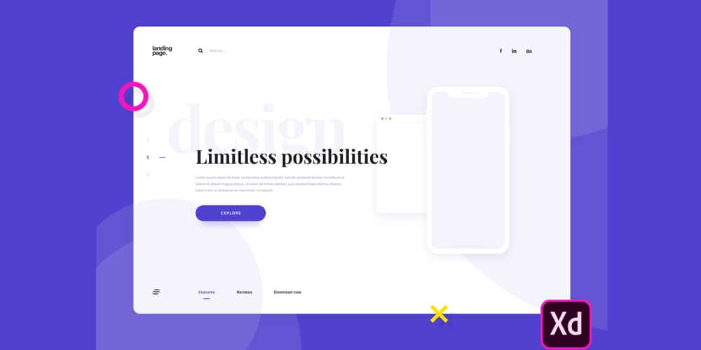 Landing Page Template for Adobe XD