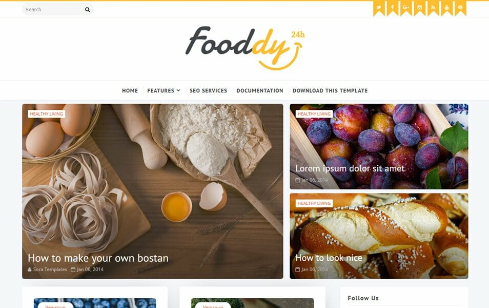 Fooddy Responsive Blogger Template
