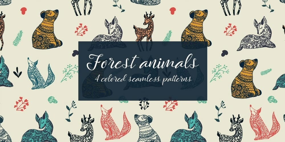 Forest Animals Vector Seamless Pattern