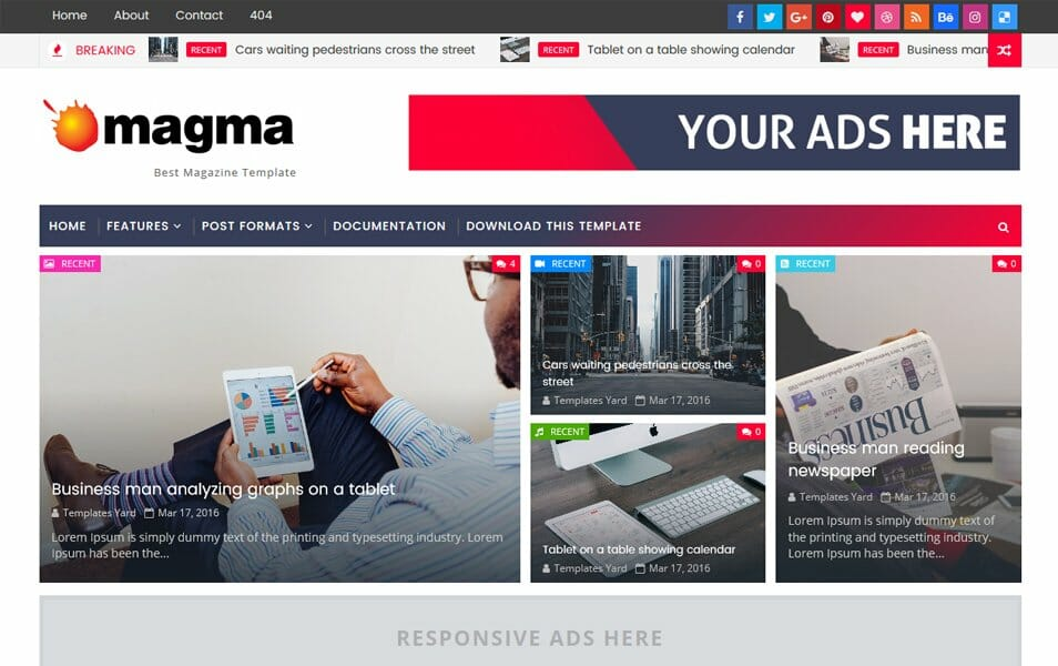 300 best free responsive blogger templates 2018 css author magma responsive blogger template cheaphphosting Images