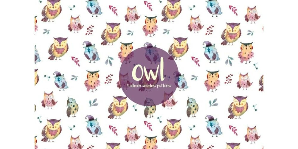 Owls Watercolor Vector Seamless Pattern