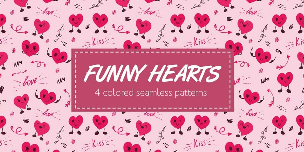 Seamless Funny Hearts Pattern