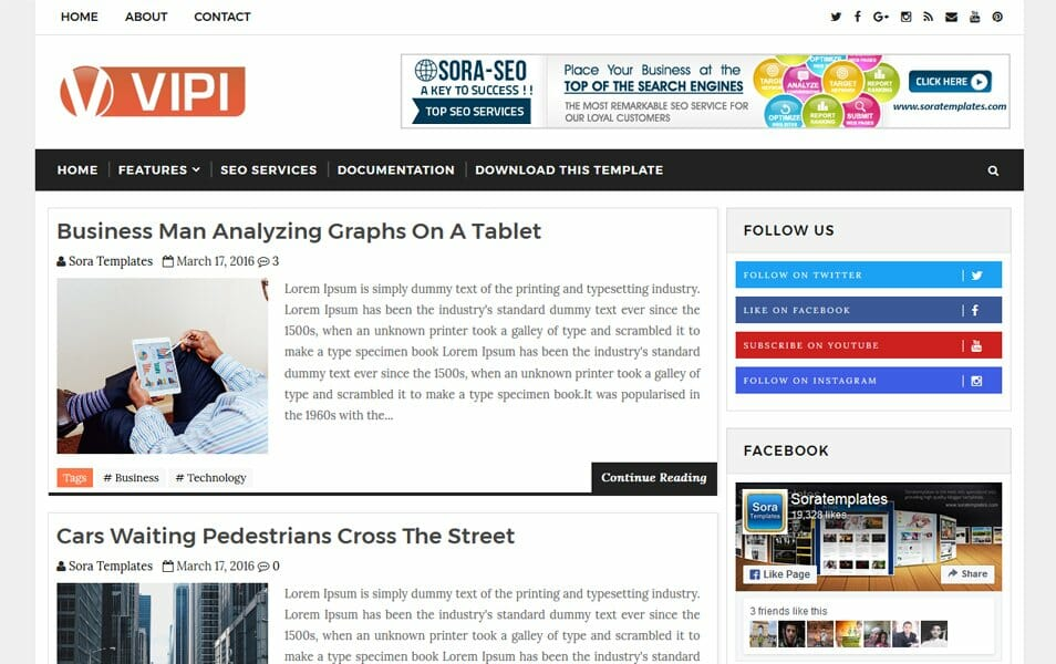 VIPI Blog Responsive Blogger Template