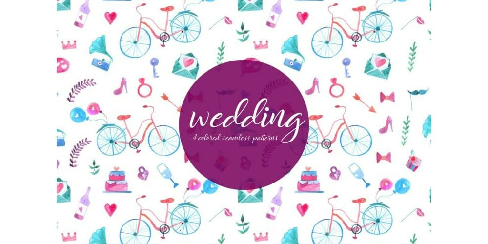 Wedding Watercolor Vector Seamless Pattern