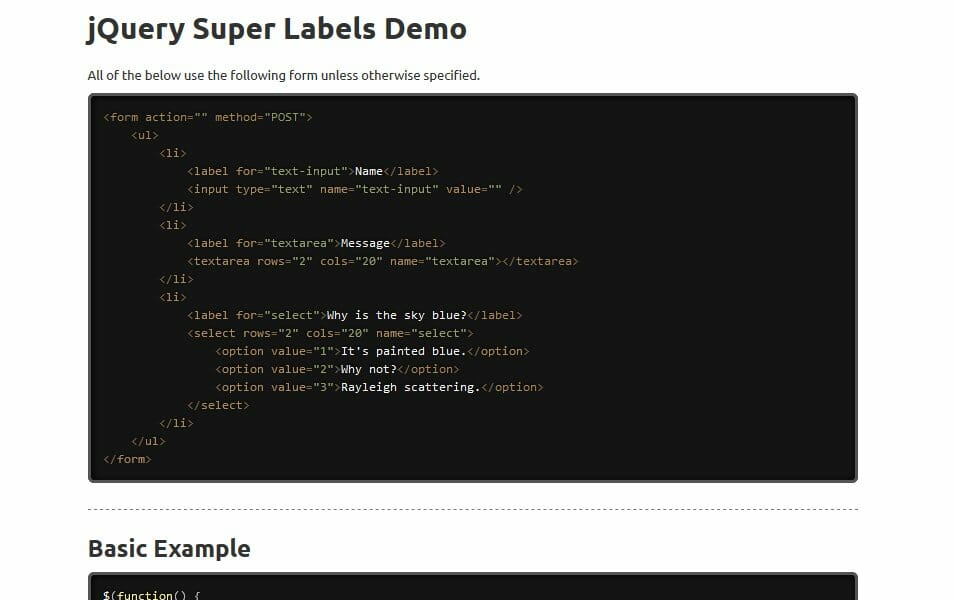 jQuery Super Labels Plugin