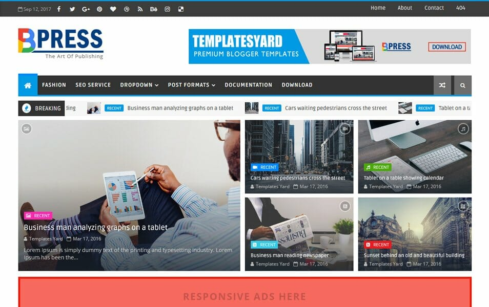 300 Best Free Responsive Blogger Templates 2019 Css Author