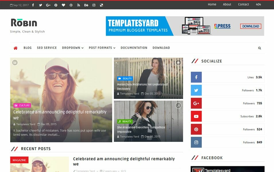 Robin Responsive Blogger Template