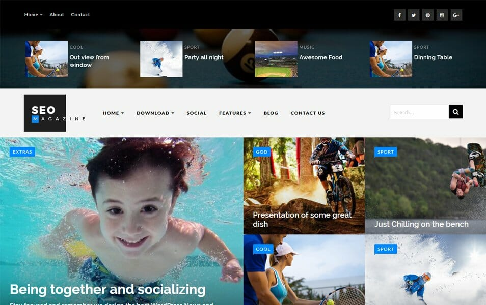 SEO Sports Responsive Blogger Template