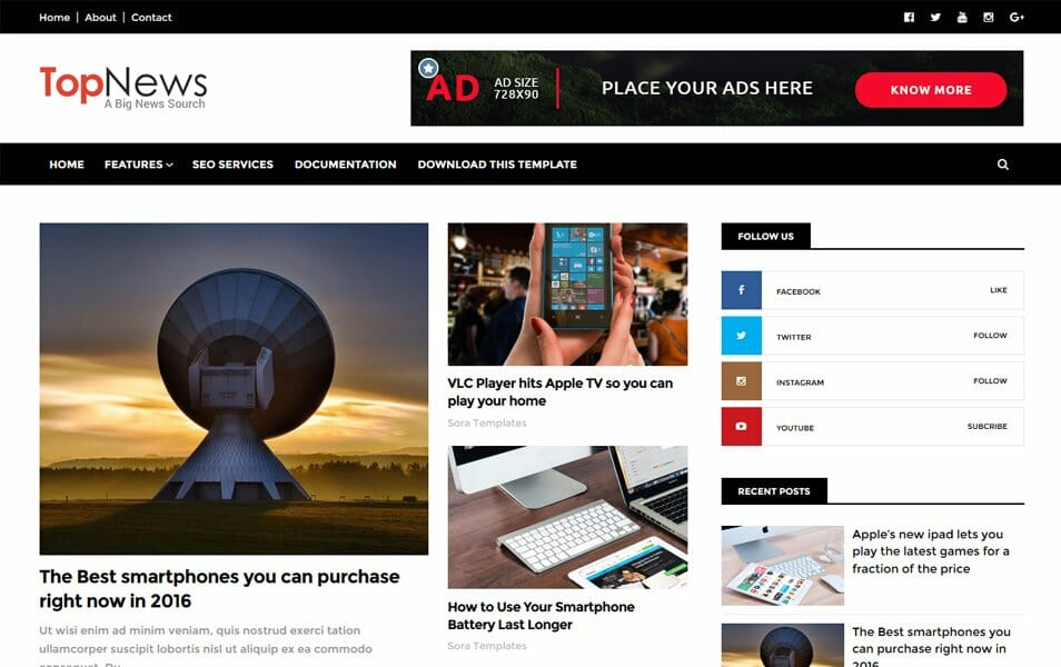Top News Responsive Blogger Template