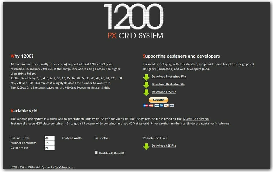 1200px Grid System