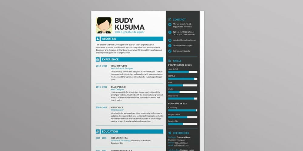 Brand ID Resume Template PSD