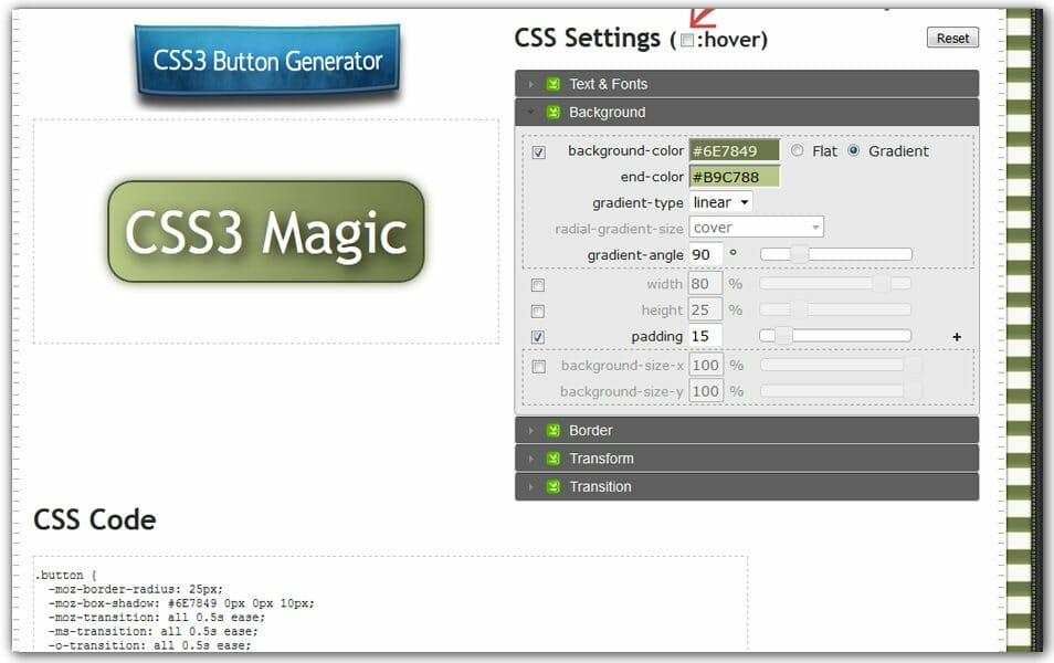 CSS Drive CSS3 Button Generator