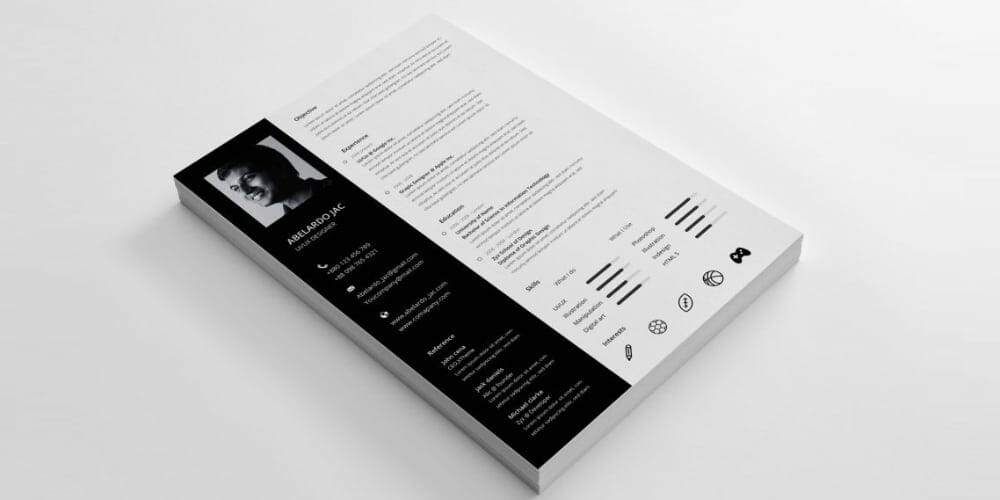 Classy Resume Template PSD