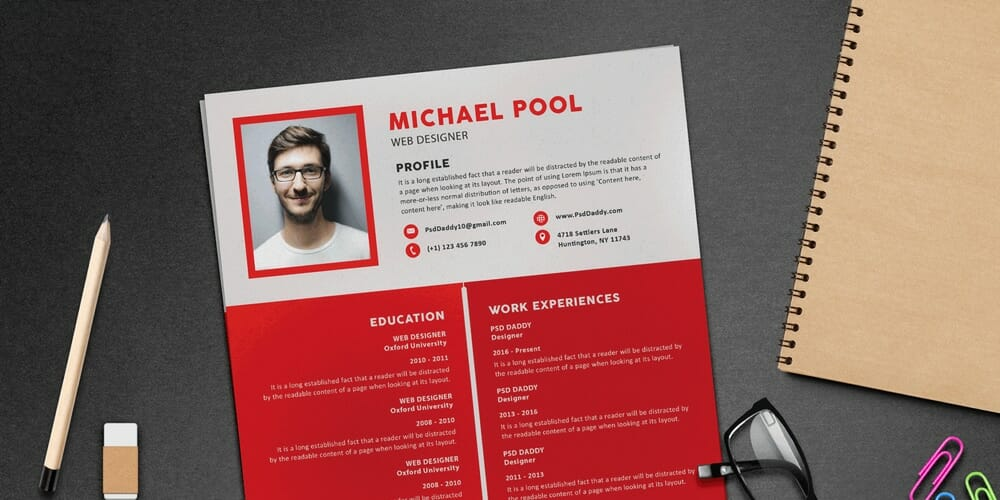 Clean and Designer Resume Template PSD