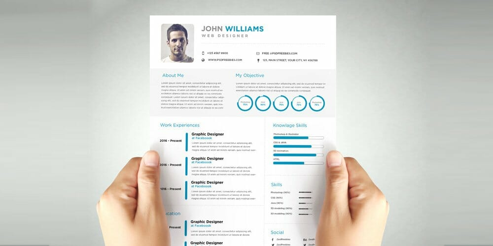 Clean and Elegant Resume Template PSD
