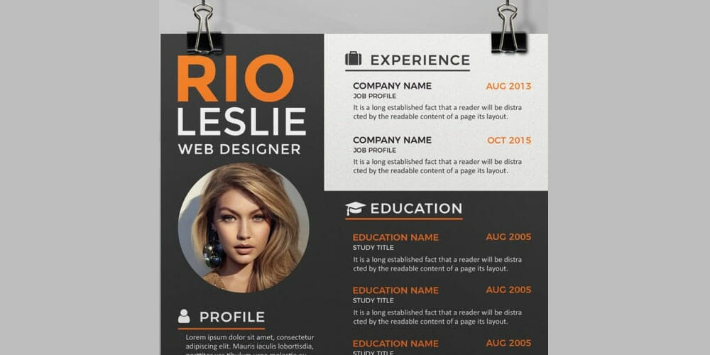 Ultimate collection of free resume templates css author creative resume cv template psd yelopaper Gallery