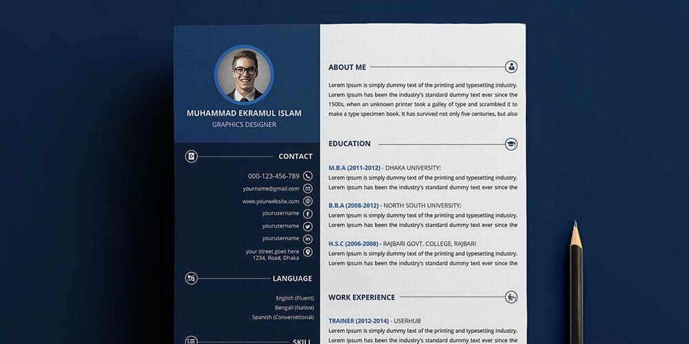 Creative Resume Free PSD Template