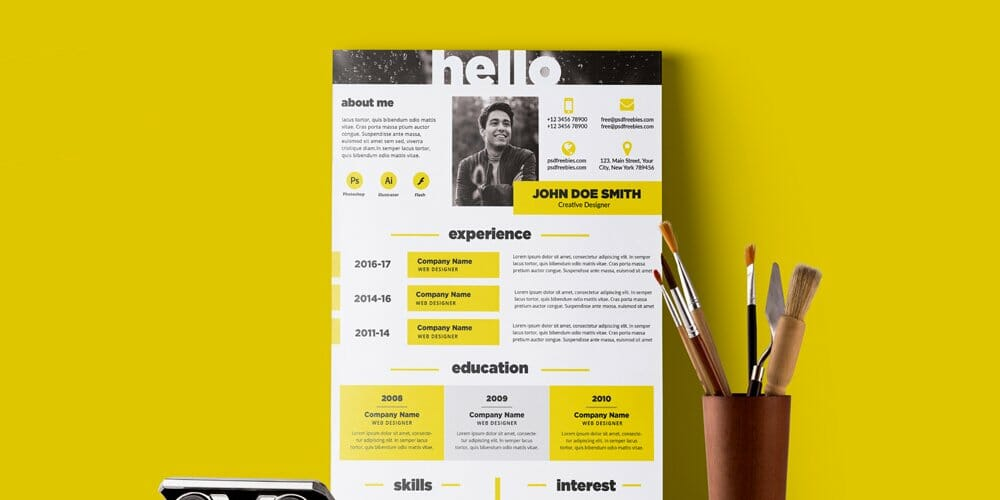 Creative and Elegant Resume Template PSD
